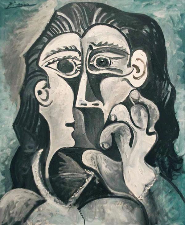 Картина Пабло Пикассо. Голова женщины (Жаклин). 1961-1962
