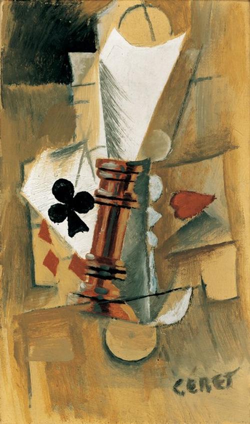 Картина Пабло Пикассо. Бокал и игральные карты. 1912