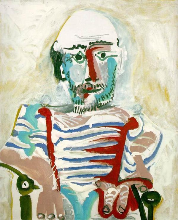 Картина Пабло Пикассо. Сидящий человек (Автопортрет). 1965
