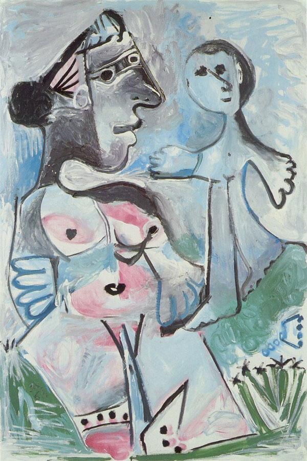 Картина Пабло Пикассо. Венера и Амур. 1967