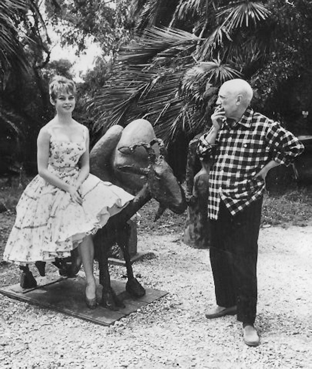 Pablo Picasso with Brigitte Bardot in La California, during the 1956 International Cannes Film Festival. Photograph Jerome Brierre Getty Images