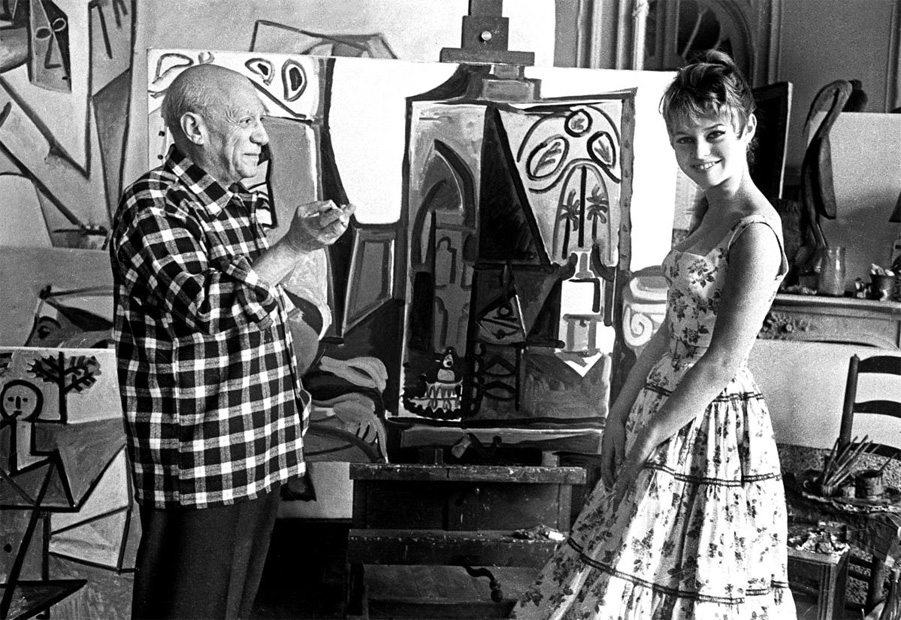 Pablo Picasso in his studio La California with Brigitte Bardot during the 1956 International Cannes Film Festival. Photograph Jerome Brierre Getty Images