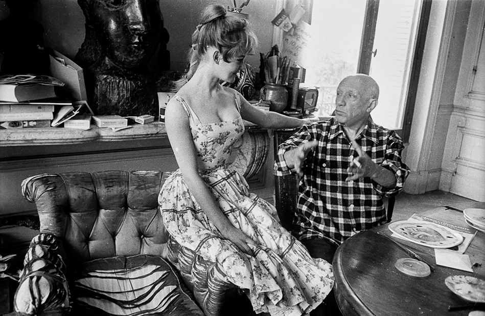 Pablo Picasso with Brigitte Bardot during the 1956 International Cannes Film Festival. Photograph Jerome Brierre Getty Images