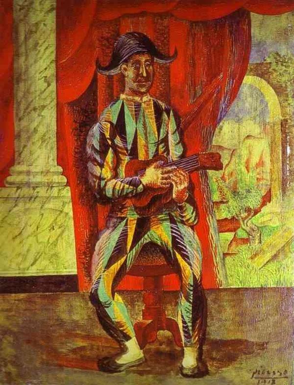 Картина Пабло Пикассо Арлекин с гитарой. 1918
