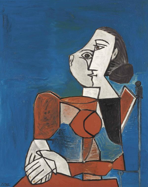 Картина Пабло Пикассо. Женщина в красном костюме на синем фоне. 1953 ($8,5 млн)