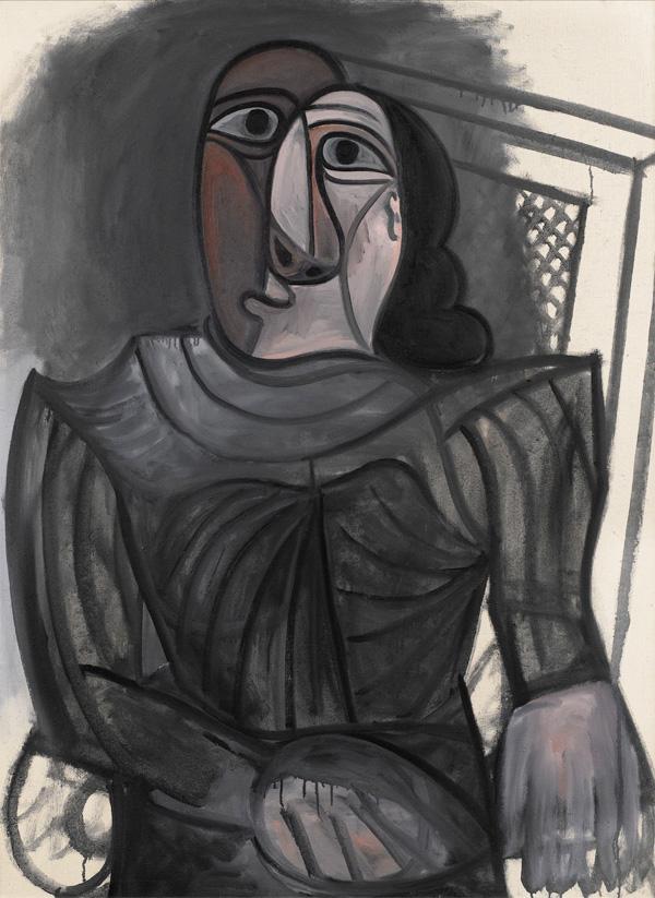 Картина Пабло Пикассо. Женщина, сидящая в сером платье. 1943 ($4,9 млн)