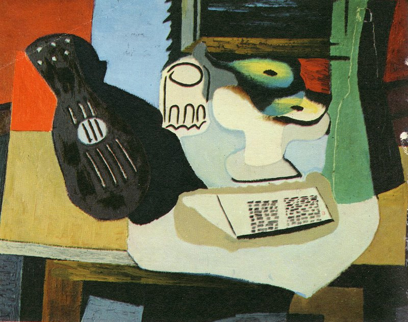 Pablo Picasso. Guitar, Glass and Bowl of Fruit. 1924