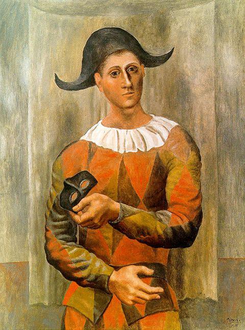 Пабло Пикассо. Арлекин с маской. 1918