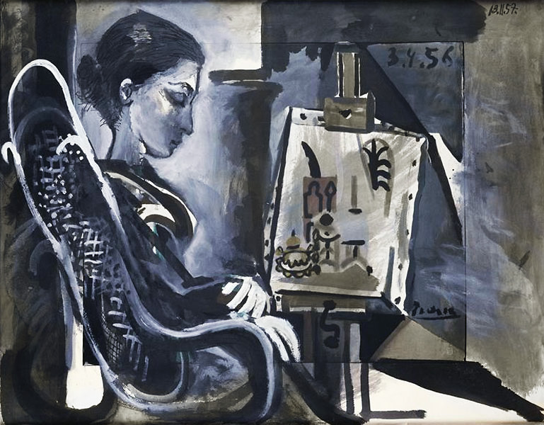 Картина Пабло Пикассо. Жаклин в студии. 1957