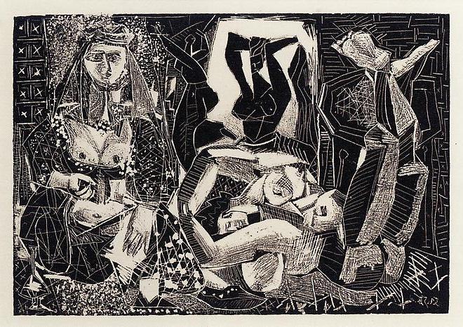 Картина Пабло Пикассо. Алжирские женщины, литография 2. 5 февраля 1955