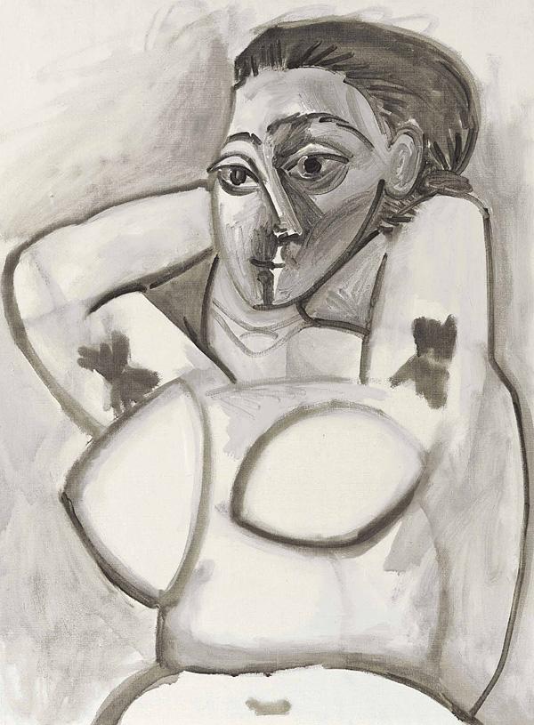 Картина Пабло Пикассо. Обнаженная с поднятыми руками. 1955 ($3,2 млн)