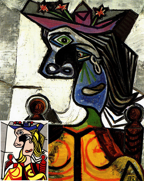 Woman-with-Flowered-Hat_Picasso-1939_Lichtenstein-1963