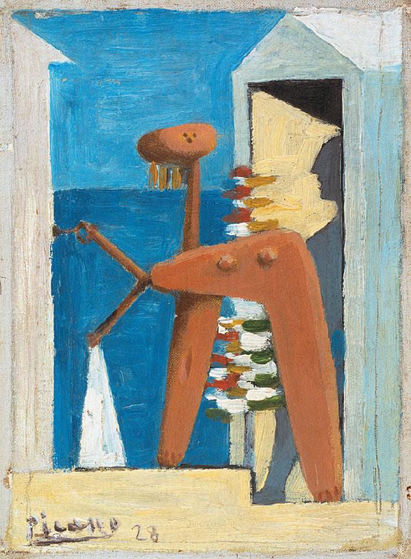 Картина Пабло Пикассо. Купальщица и кабинка. 1928