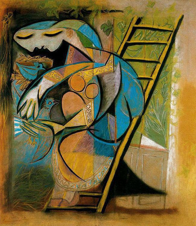 Картина Пабло Пикассо. Женщина с голубями. 1930
