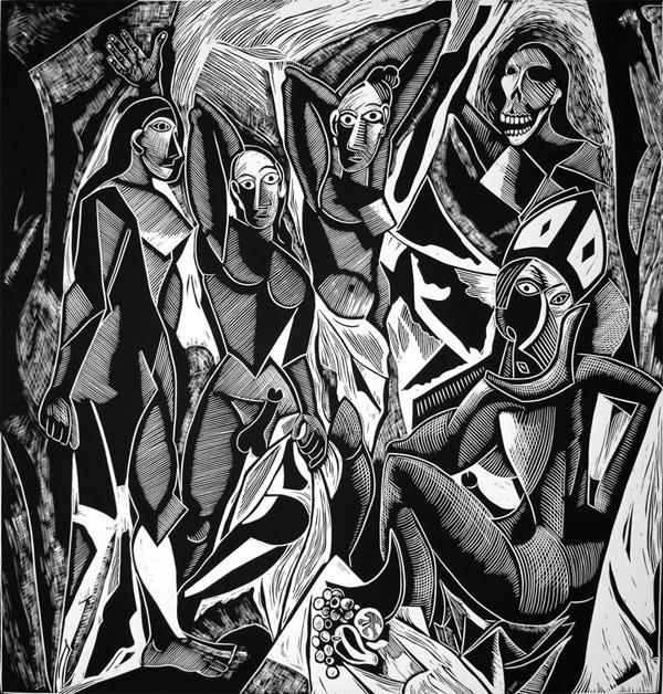 Авиньонские девицы, после Пикассо - гравюра никарагуанского художника