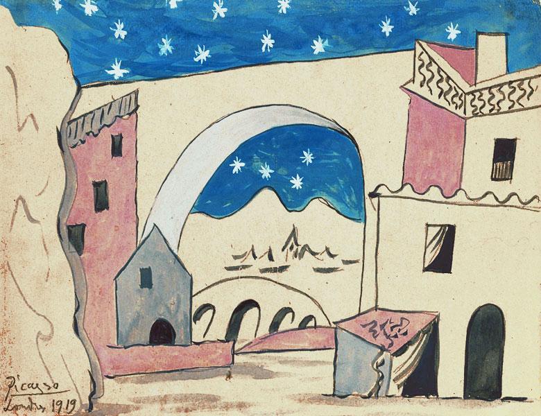 Пикассо Эскиз декораций к балету Треуголка 1919
