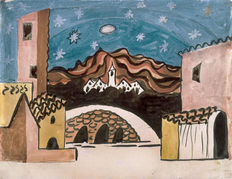 Картина Пабло Пикассо. Декорации для балета Треуголка, эскиз 2. 1919