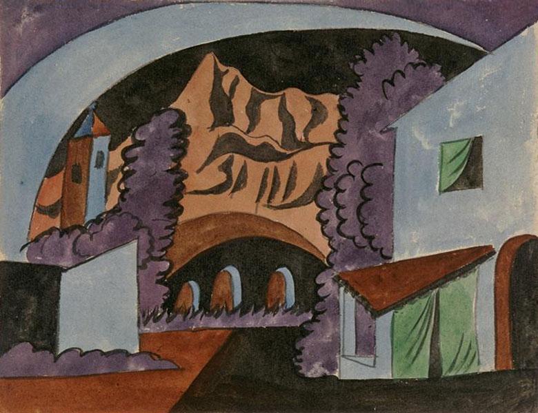 Картина Пабло Пикассо. Декорации для балета Треуголка, эскиз 3. 1919