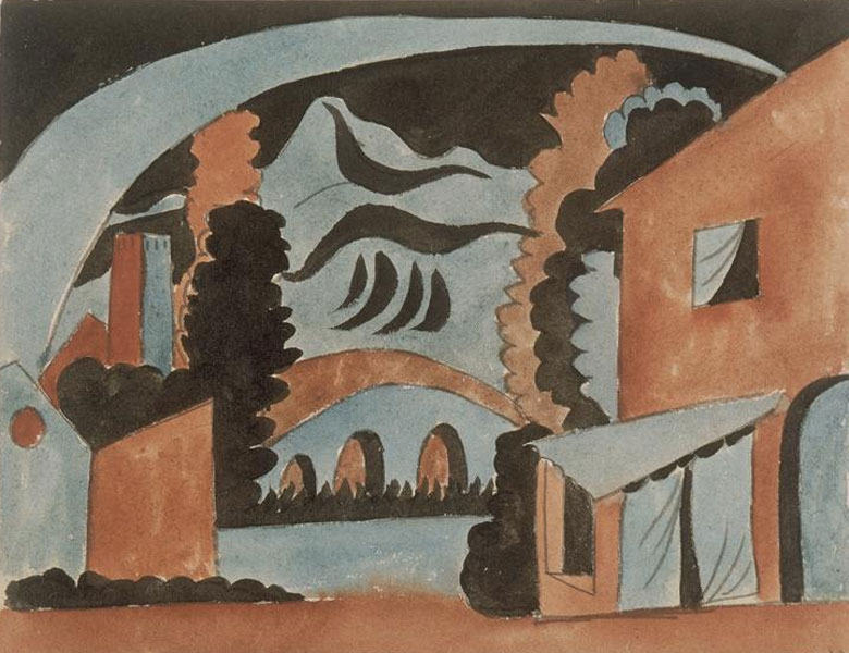 Картина Пабло Пикассо. Декорации для балета Треуголка, эскиз 4. 1919