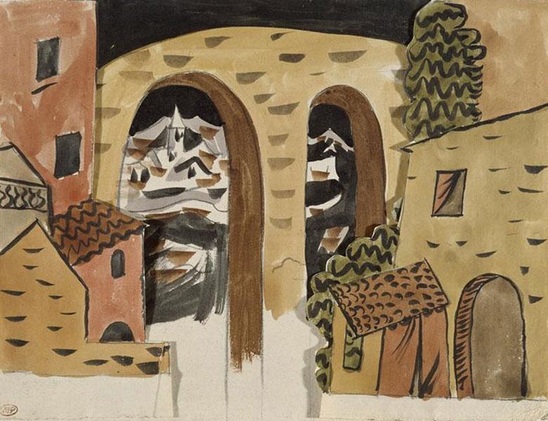 Картина Пабло Пикассо. Декорации для балета Треуголка, эскиз 5. 1919