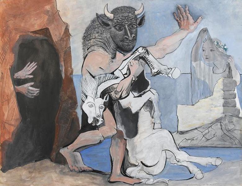 Картина Пабло Пикассо. Минотавр с мертвой лошадью у пещеры перед девушкой в вуали. 1936