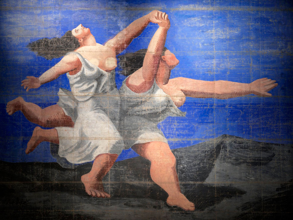 Картина Пабло Пикассо. Занавес к балету Голубой экспресс. 1924