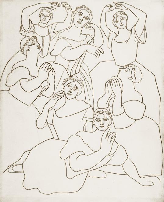 Картина Пабло Пикассо Семь танцовщиц. 1919