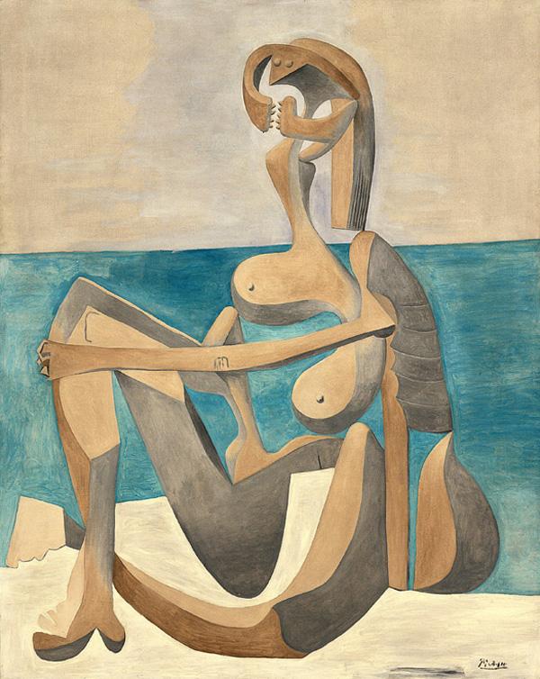 Картина Пабло Пикассо. Купальщица, сидящая на берегу моря. 1930