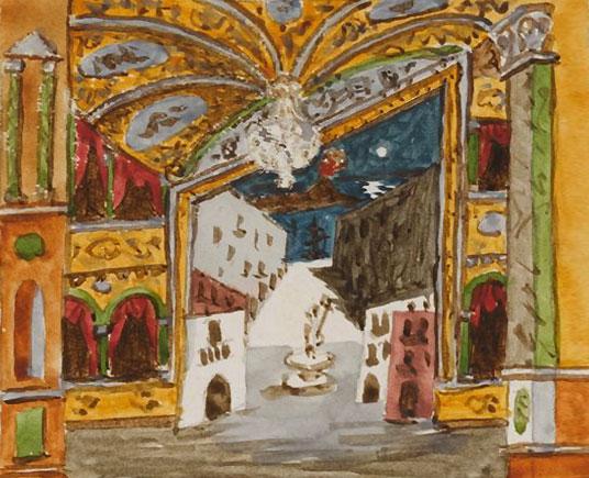 Картина Пабло Пикассо. Декорации к балету Пульчинелла, эскиз 1. 1920