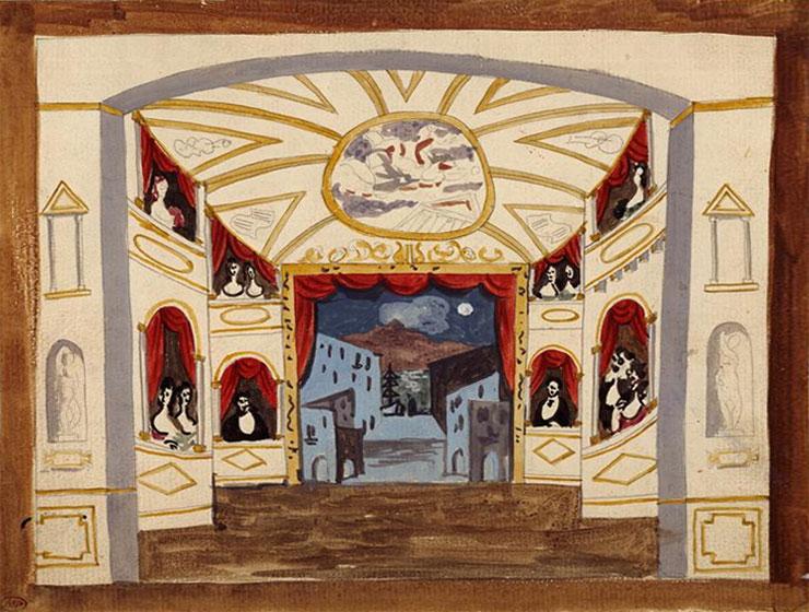 Картина Пабло Пикассо. Декорации к балету Пульчинелла, эскиз 2. 1920