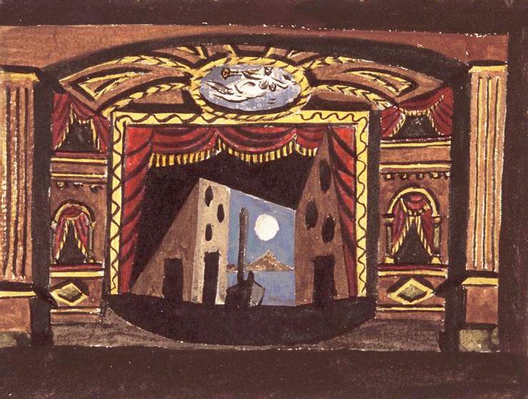 Картина Пабло Пикассо. Декорации к балету Пульчинелла, эскиз 3. 1920
