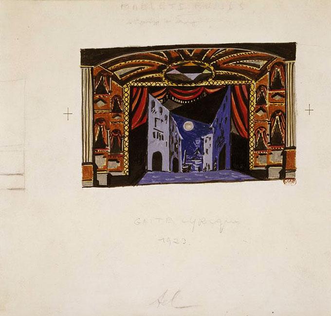 Картина Пабло Пикассо. Декорации к балету Пульчинелла, эскиз 4. 1920