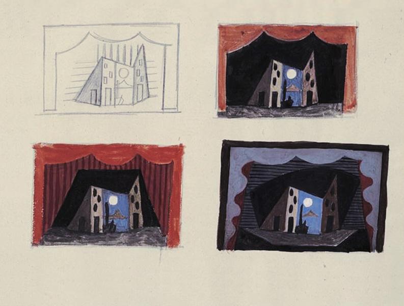 Картина Пабло Пикассо. Декорации к балету Пульчинелла, эскиз 5. 1920