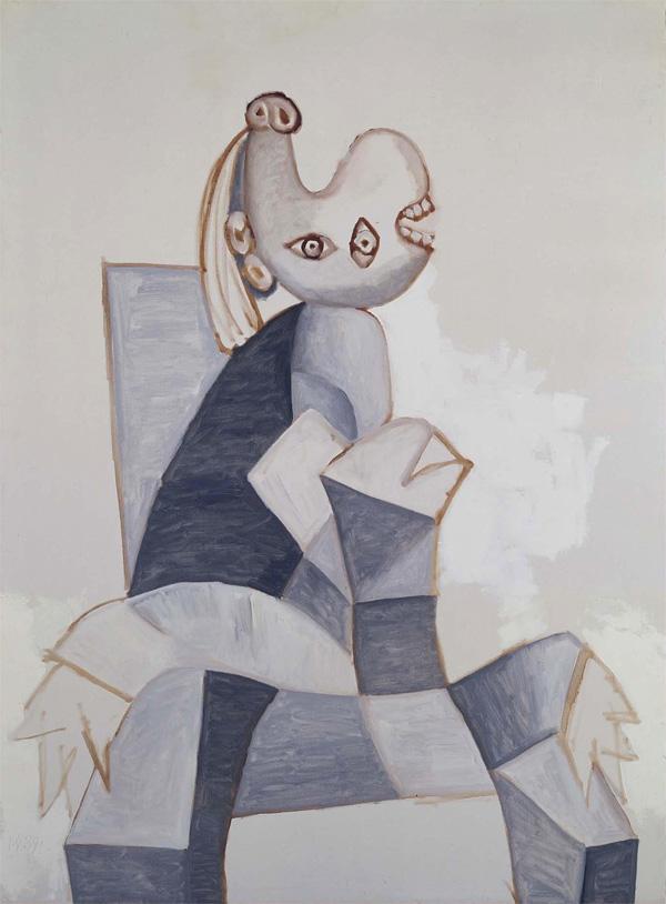 Картина Пабло Пикассо. Женщина, сидящая в сером кресле. 1939