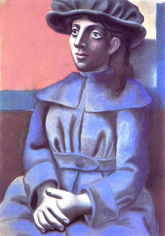 Картина Пабло Пикассо. Девушка в шляпе со скрещенными руками. 1921