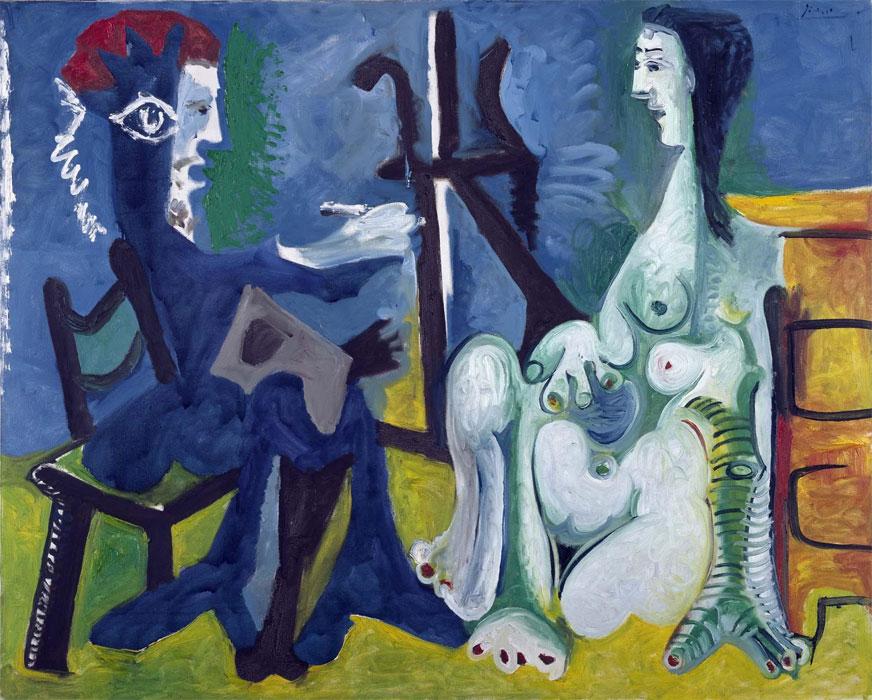 Картина Пабло Пикассо. Художник и модель 3. 1963