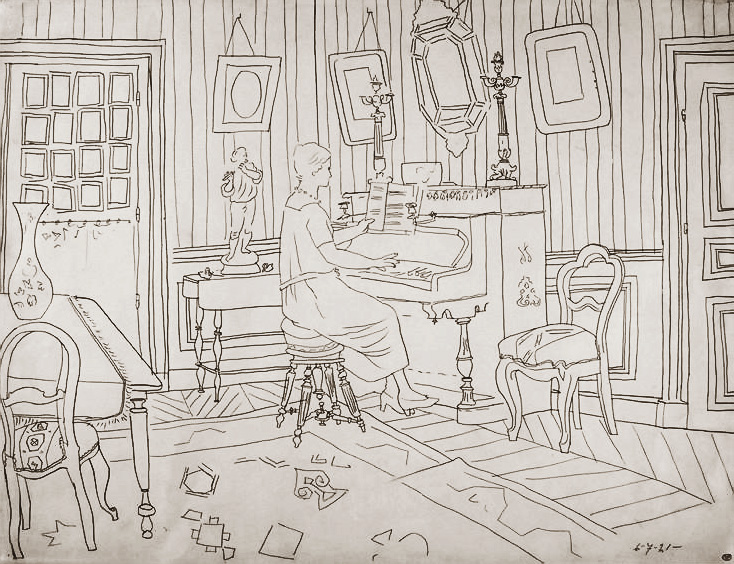 Картина Пабло Пикассо. Гостиная в Фонтенбло: Ольга за пианино. 1921