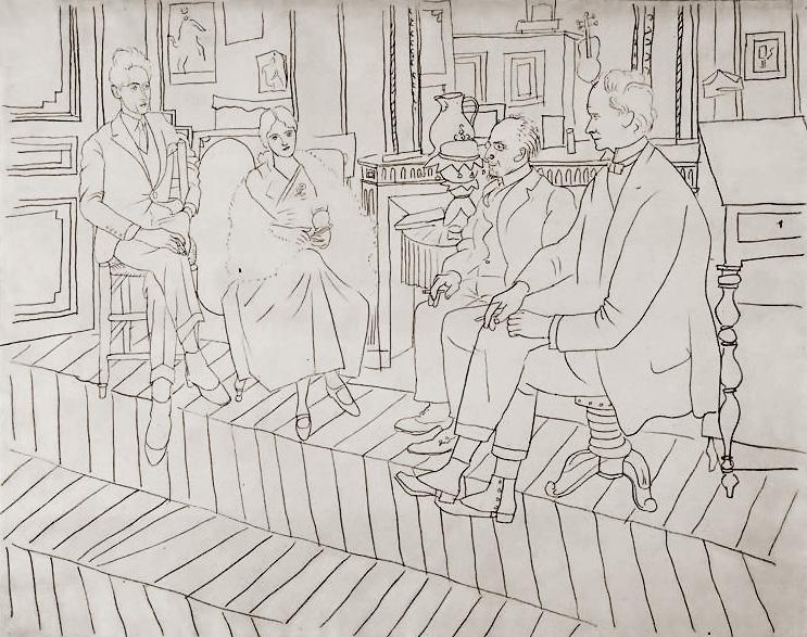 Картина Пабло Пикассо. Гостиная на улице Ля Боэти: Жан Кокто, Ольга, Эрик Сати, Клайв Белл. 1919