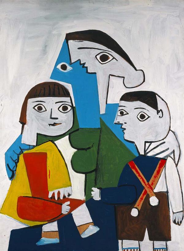 Картина Пабло Пикассо. Материнство, на белом фоне. 1953