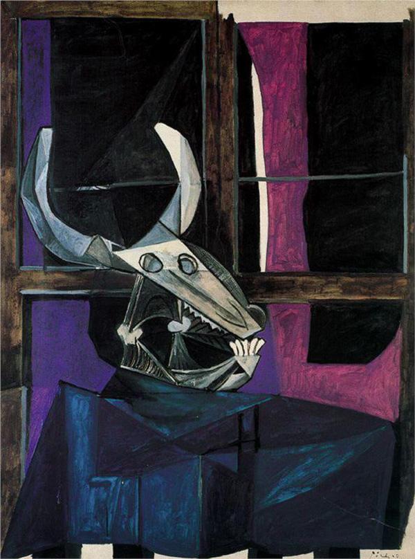 Картина Пабло Пикассо. Натюрморт с бычьим черепом. 1942