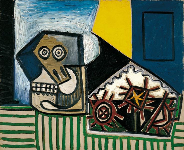 Картина Пабло Пикассо. Натюрморт с черепом и тремя морскими ежами. 1947