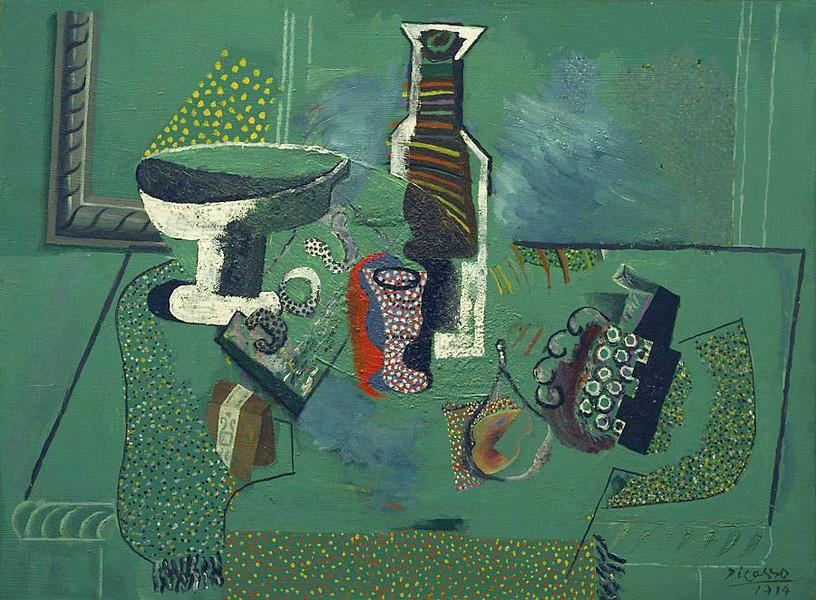 Картина Пабло Пикассо. Зеленый натюрморт. 1914