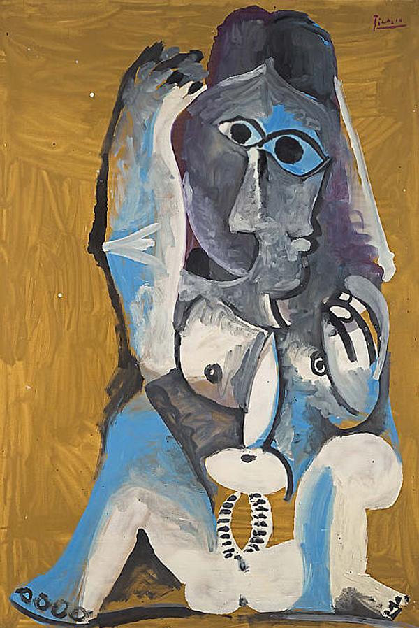 Картина Пабло Пикассо. Сидящая обнаженная. 1969