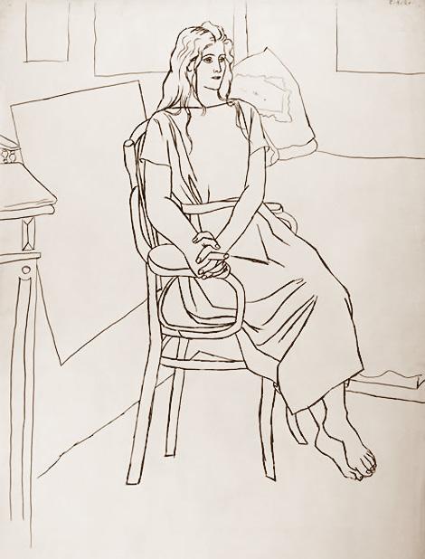 Картина Пабло Пикассо. Ольга с распущенными волосами. 1920