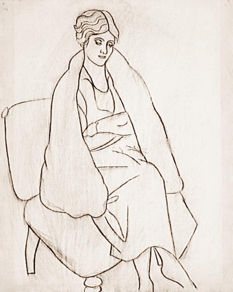 Картина Пабло Пикассо. Ольга в шали. 1920