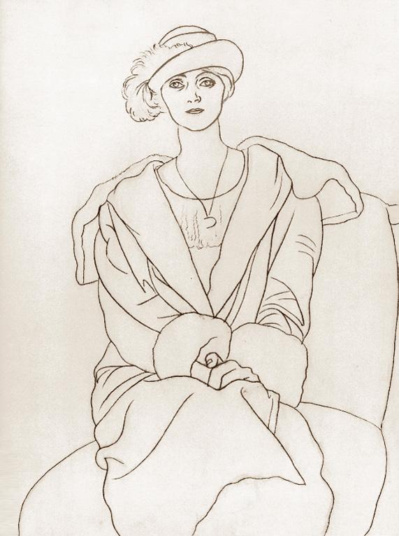 Картина Пабло Пикассо. Ольга в шляпе с пером. 1920