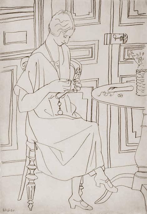 Картина Пабло Пикассо. Ольга с шитьем. 1920