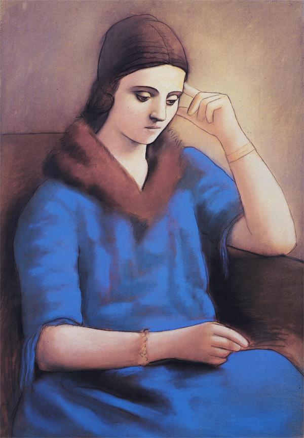Картина Пабло Пикассо. Ольга в задумчивости. 1923