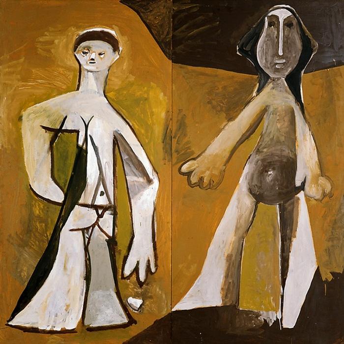Картина Пабло Пикассо. Два персонажа стоя. 1958