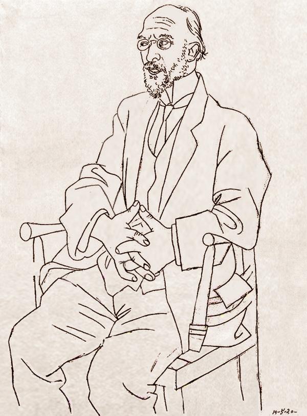 Картина Пабло Пикассо. Портрет Эрика Сати. 1920